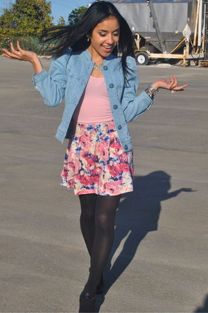 blue H&amp;M jacket - pink American Apparel intimate - pink Forever 21 skirt
