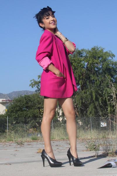 black Alexander Wang shoes - pink vintage blazer - black American Apparel dress