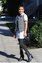 white Zara shirt - gray Heritage 1981 leggings - black Forever 21 boots - Herita