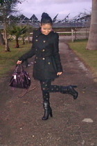 black Forever21 coat - black Forever21 tights - black Forever21 boots - purple c
