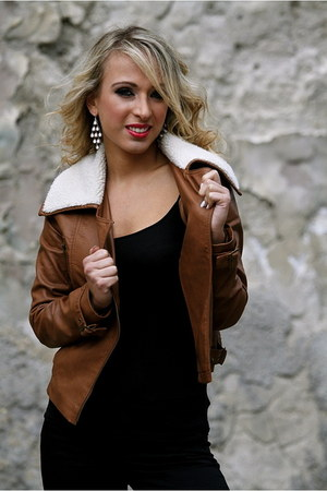 leather jacket F&F jacket - Accessorize earrings