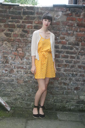 gold H&M dress - beige Topshop cardigan - black Primark shoes