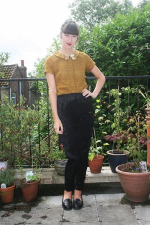 gold Topshop blouse - black vintage leggings - black vintage shoes