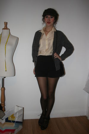 gray Uniqlo cardigan - beige vintage blouse - black American Apparel shorts - bl