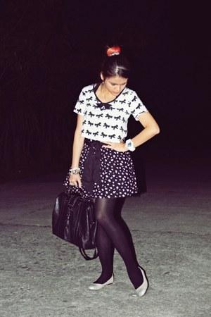 Topshop blouse - Steve Madden bag - Zara skirt - poise flats