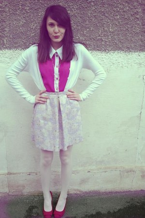 periwinkle skirt - hot pink blouse - white necklace