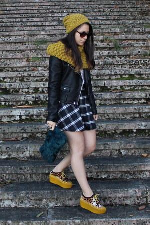 mustard H&M scarf - black leather Zara jacket - blue Zara purse