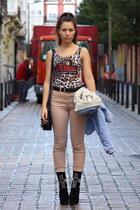 vintage t-shirt - Jeffrey Campbell boots - nude Zara pants