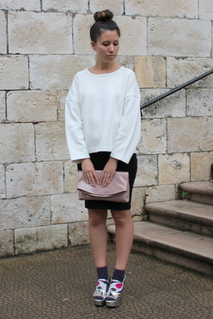 white Zara sweater - pink Zara purse - purple H&M socks - black H&M skirt