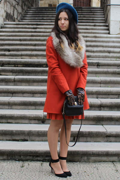 burnt orange Zara coat - black Zara shoes
