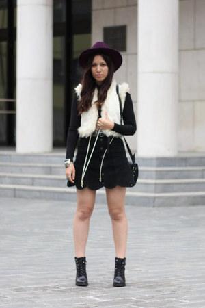 black Zara boots - purple H&M hat - cream Zara vest - black vintage skirt