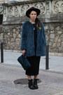 Black-zara-boots-black-zara-dress-blue-faux-fur-zara-coat-purple-h-m-hat