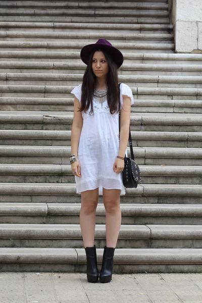 purple H&M hat - black Zara boots - white Zara dress - black Mango bag