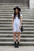 purple H&M hat - black Zara boots - white Zara dress - black Mango bag