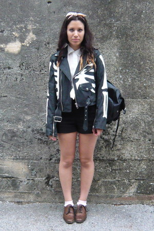 black UNIF jacket - brown Zara shoes - black Zara pants