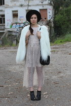 black Zara boots - light pink Zara dress - white faux fur Zara coat