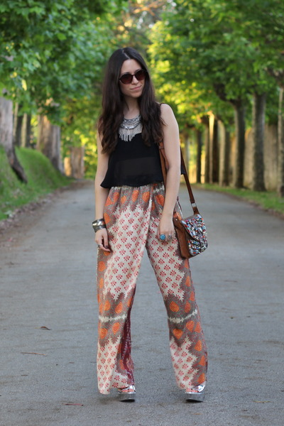 black Bershka top - silver Bershka necklace - orange Zara pants