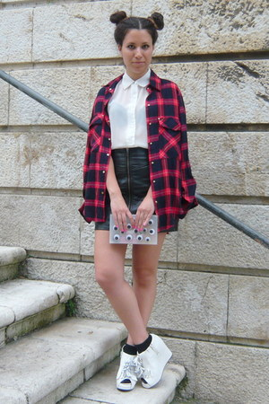 red Zara shirt - black H&M skirt - white Jeffrey Campbell wedges