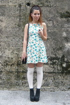 cream vintage dress - black Mango bag - white Stradivarius stockings