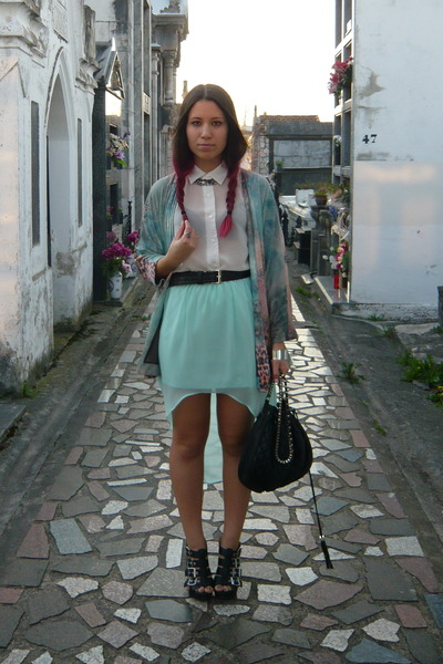 aquamarine Zara skirt - white Stradivarius shirt - light blue Zara cape