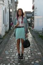 aquamarine Zara skirt - white Stradivarius shirt - light blue Zara cape