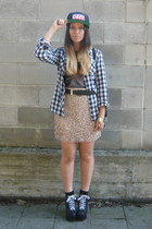 gold Zara skirt - blue Stradivarius shirt