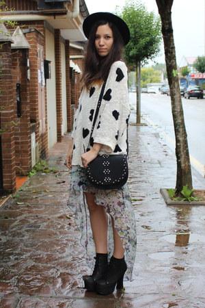 purple Zara dress - black Mango bag - white Zara jumper