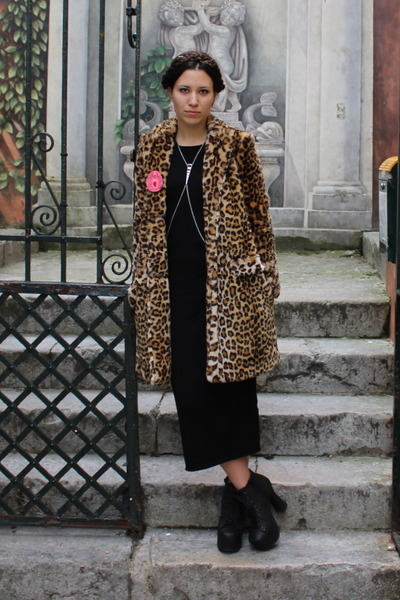 brown leopard print Zara coat - black Zara dress - black Zara purse