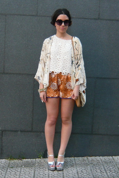 brown Zara purse - white H&M top - orange Zara pants - cream Zara cardigan