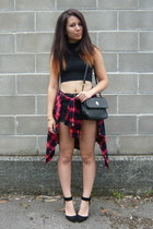 black vintage bag - red Zara shirt - black Zara heels - black asos top