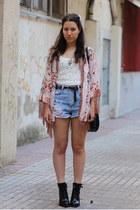 pink kimono River Island cardigan - black Zara boots - blue pull&bear shorts