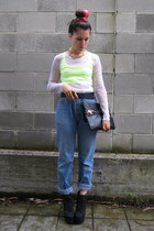 blue Levis jeans - lime green Bershka top