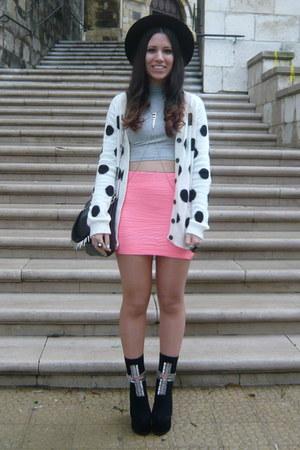 white pull&bear cardigan - black Jeffrey Campbell boots - pink Bershka skirt