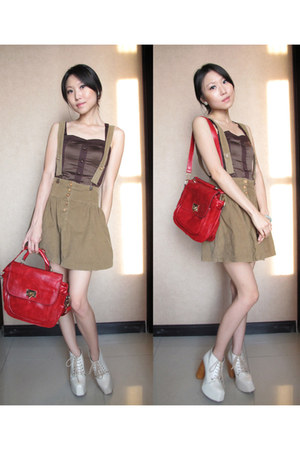 ruby red leather random bag - neutral leather junejulia boots