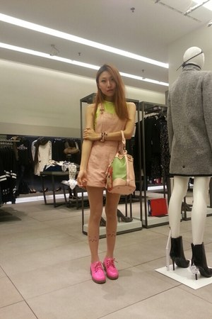 light pink bag - hot pink shoes - lime green blouse - light pink romper