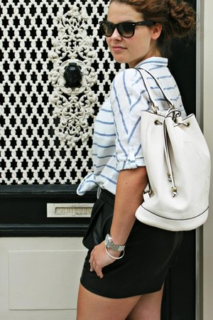 Parfois bag - leather Zara shorts - striped Zara blouse - Michael Kors watch