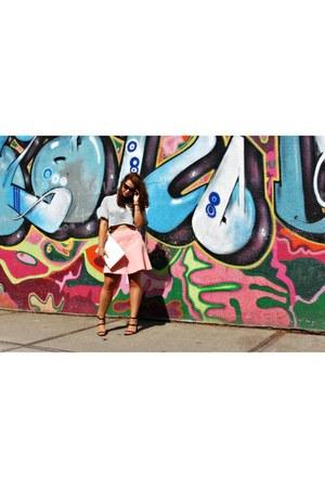 Zara bag - crop top Zara top - leather Zara wedges - skater skirt Zara skirt