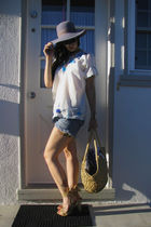 gray vintage 1940s hat - white Vintage 1960s embroidred shirt - blue DIY Cut-off
