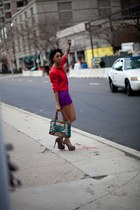 purple Motel Rocks dress - red jacket - Forever 21 heels