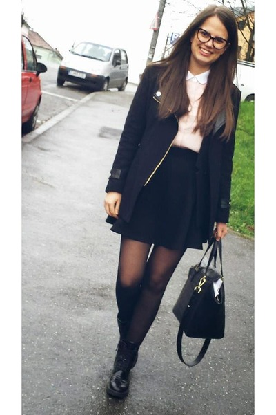 black Stradivarius shoes - black Sheinside jacket