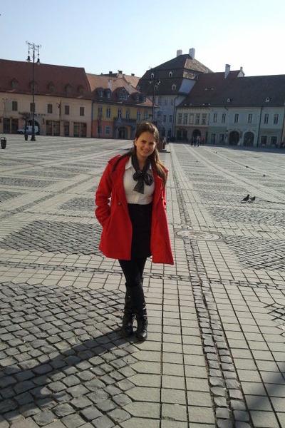 red coat - white Bershka shirt - black H&M skirt