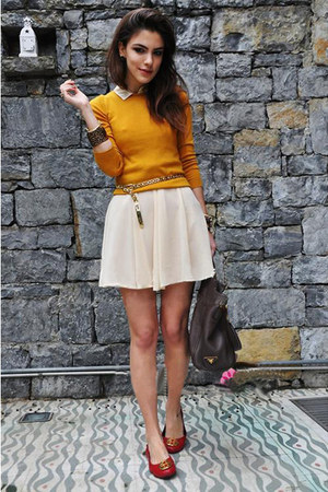 light orange blouse - light pink skirt