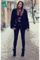 black coat - black pants - brick red blouse