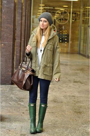 dark green boots - navy jeans - dark khaki jacket - dark brown bag