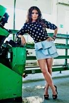 gray heels - black blouse - periwinkle skirt