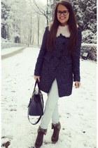 light pink H&M scarf - gray Zara coat - black H&M bag - army green Ebay wedges
