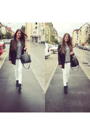 gray H&M boots - dark gray Sheinside jacket - black H&M bag
