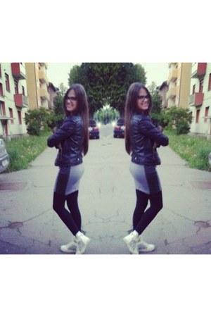 heather gray H&M dress - white animal print shoes - black H&M jacket