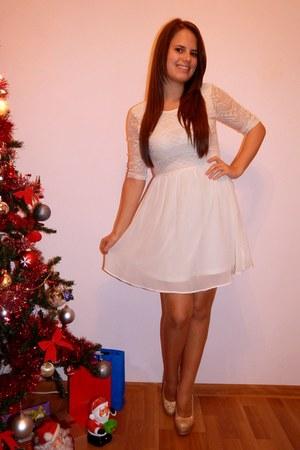 off white H&M dress - gold Ebay heels