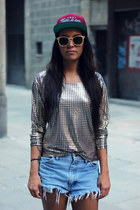 blouse - hat - periwinkle shorts - sunglasses